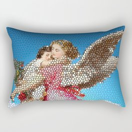Angel and Child, Stained Glass, Divine Rectangular Pillow