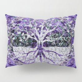 Silver Tree of Life Yggdrasil on Amethyst Geode Pillow Sham