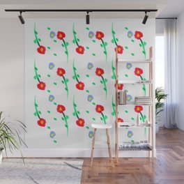 Doodle: flowers pattern Wall Mural
