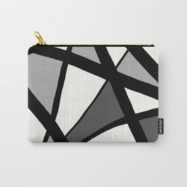 Geometric Line Abstract - Black Gray White Carry-All Pouch