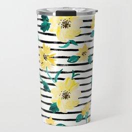 Happy flowers Stripe Travel Mug
