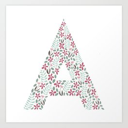 Floral initial - A pastel Art Print