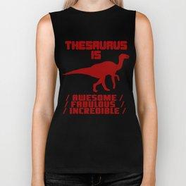 Funny Thesaurus Dinosaur Shirt Thesaurus Rex t-shirt Awesome fabulous incredible Biker Tank