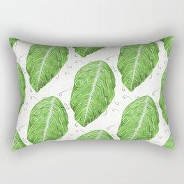 Swirly Green Leaf Pattern Rectangular Pillow