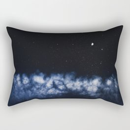 Contrail moon on a night sky Rectangular Pillow