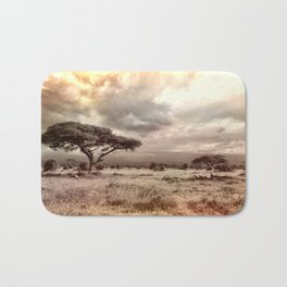 Black and White Acacia on the African Savanna Bath Mat