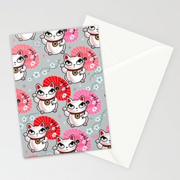 Kyoto Kitty on Grey Stationery Cards