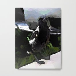 Black and White Magpie on the Porch Metal Print