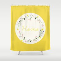 home sweet home Shower Curtains featuring Home by Babiole Design