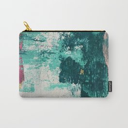 Curious [4]: a vibrant, minimal abstract mixed-media piece in teal, pink, white and gold Carry-All Pouch