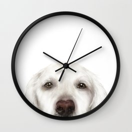 Golden Retriever WhiteDog illustration original painting print Wall Clock