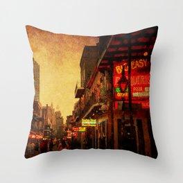 Bourbon Street Grunge Throw Pillow
