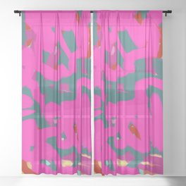 Fuchsia Pink, Teal Green & Orange Rust Thick Abstract Sheer Curtain