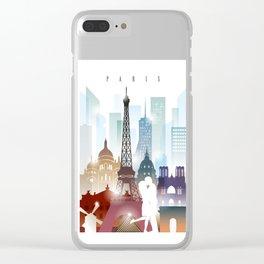 Paris city skyline, France Clear iPhone Case