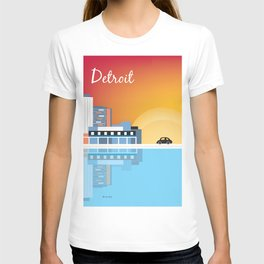 Detroit, Michigan - Skyline Illustration by Loose Petals T-shirt