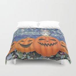Halloween owl & pumpkins Duvet Cover