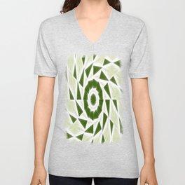 Green White Kaleidoscope Art 3 Unisex V-Neck