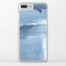 Gray Blue streaked wash drawing painting Clear iPhone Case