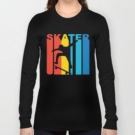 Retro Style Skater Skateboarder Skateboarding Long Sleeve T-shirt