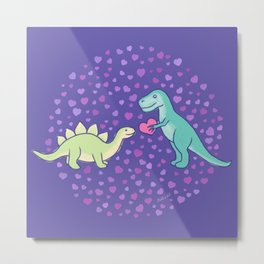 Cute Dinosaurs in Love, T-Rex is Giving a Heart to a Stegosaurus, Berry Blue, Green, Mint Colors, Dinosaur Illustration and Pattern Metal Print
