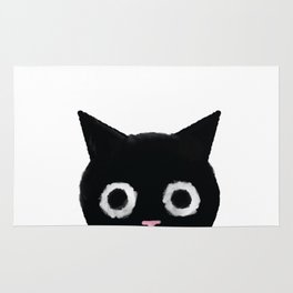 Spooked Kitty Black Creepy & Cute Cat Rug