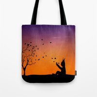 dream catcher Tote Bags featuring Dream Catcher. by Nancy Woland