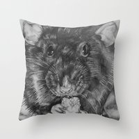 rat Throw Pillows featuring Rat by Natasha Maiklem