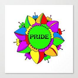 Rainbow Pride Mandala - White Background Canvas Print