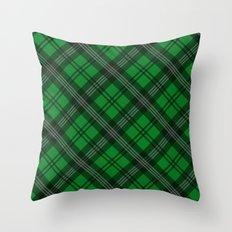 Scottish Plaid (Tartan) - Green Throw Pillow