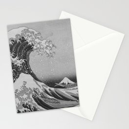 Black & White Japanese Great Wave off Kanagawa by Hokusai Stationery Cards