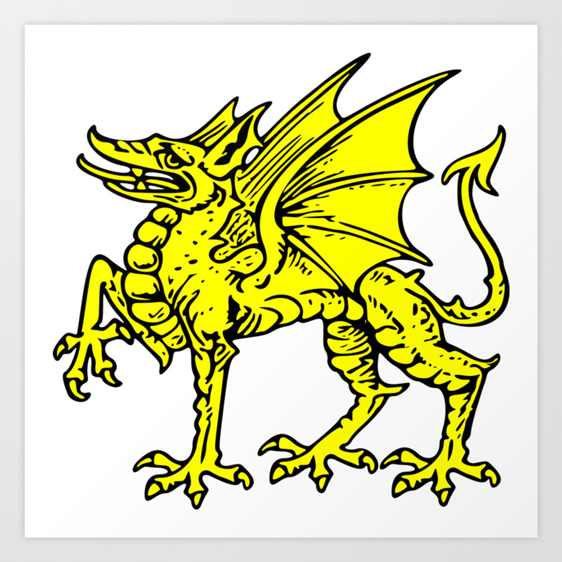 Yellow Welsh Dragon Art Print By Pascaledel Society6