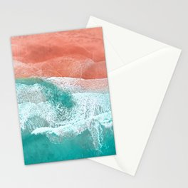 The Break - Turquoise Sea Pastel Pink Beach Stationery Cards