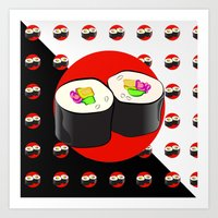 sushi Art Prints featuring Sushi! by Oceanic Inks
