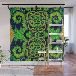Lush Green Snail Leaf Abstract Wall Mural