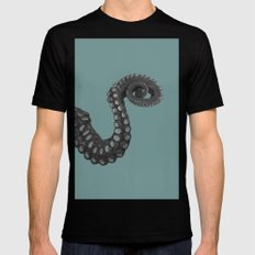 OCTOPUS - tentacle , arm , animal , single , one , spiral Black Mens Fitted Tee MEDIUM