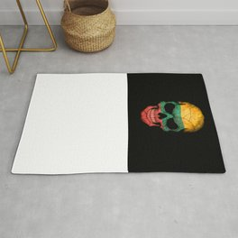 Dark Skull with Flag of Lithuania Rug
