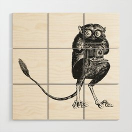 Say Cheese! | Tarsier with Vintage Camera | Black and White Wood Wall Art