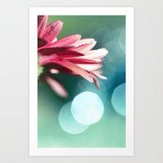 Nature's Dreaming - pink gerbera macro with mint / aqua bokeh Art Print