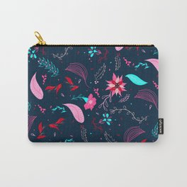 Modern winter bright navy blue pink turquoise teal floral pattern illustration Carry-All Pouch