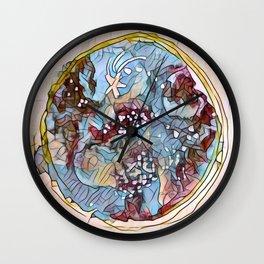 Star Galaxy Teal Purple Brown Mandala watercolor by CheyAnne Sexton Wall Clock
