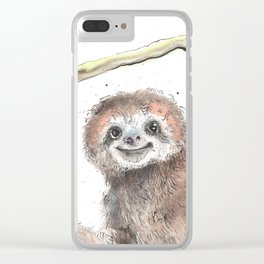 Happy is the Three Toed Sloth Clear iPhone Case