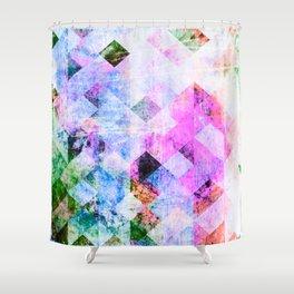 Pink/Blue Geometric Grungy Diamond Pattern Shower Curtain
