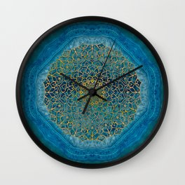 turquoise stone with mandala Wall Clock