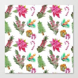 Christmas Pattern with Australian Native Bottlebrush Flowers Canvas Print