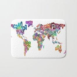 Text Map of the World Bath Mat