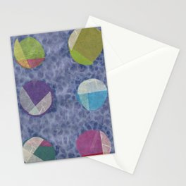 Layered Dots on Blue Stationery Cards