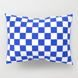 Cobalt Blue and White Checkerboard Pattern Pillow Sham