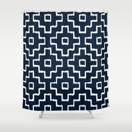 Blue Geometric Pattern Shower Curtain