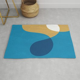 Crossed Curves with Blue Fresco Texture Rug
