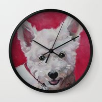 westie Wall Clocks featuring Westie - Ally by Karren Garces Pet Art